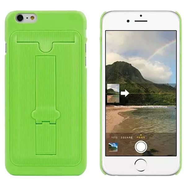 Ultrathin Hard Shockproof Cover for iPhone 6 Plus with Card Slot and Stand (Green)