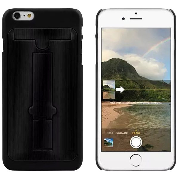 Ultrathin Hard Shockproof Cover for iPhone 6 Plus with Card Slot and Stand (Black)