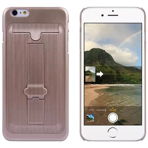 Ultrathin Hard Shockproof Cover for iPhone 6 Plus with Card Slot and Stand (Brown)