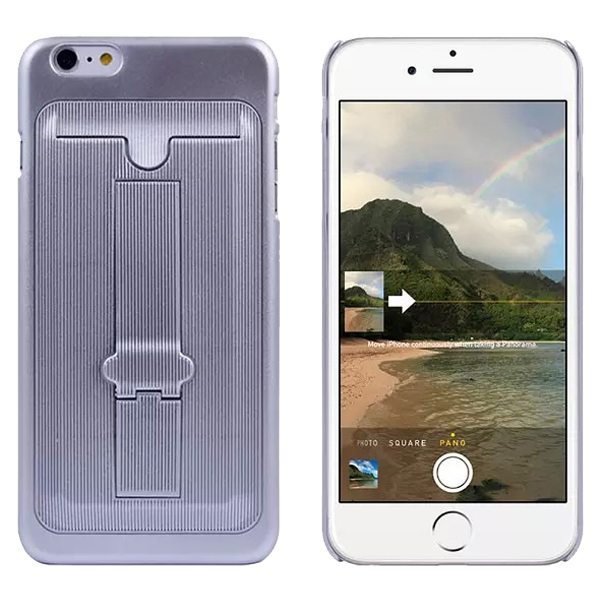 Ultrathin Hard Shockproof Cover for iPhone 6 Plus with Card Slot and Stand (Grey)