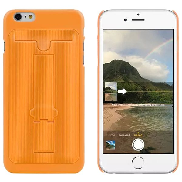 Ultrathin Hard Shockproof Cover for iPhone 6 Plus with Card Slot and Stand (Orange)