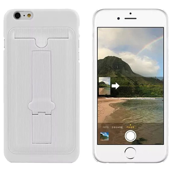 Ultrathin Hard Shockproof Cover for iPhone 6 Plus with Card Slot and Stand (White)