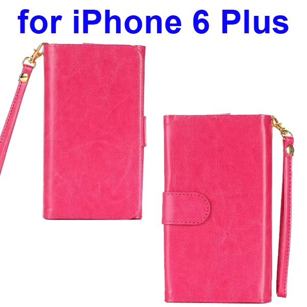 Wallet Pattern Crystal Texture Flip Leather Case for iPhone 6 Plus with Card Slots and Lanyard (Red)