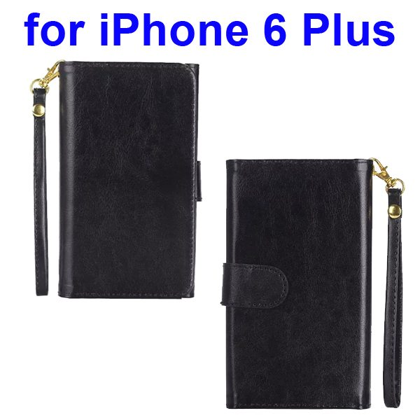 Wallet Pattern Crystal Texture Flip Leather Case for iPhone 6 Plus with Card Slots and Lanyard (Black)
