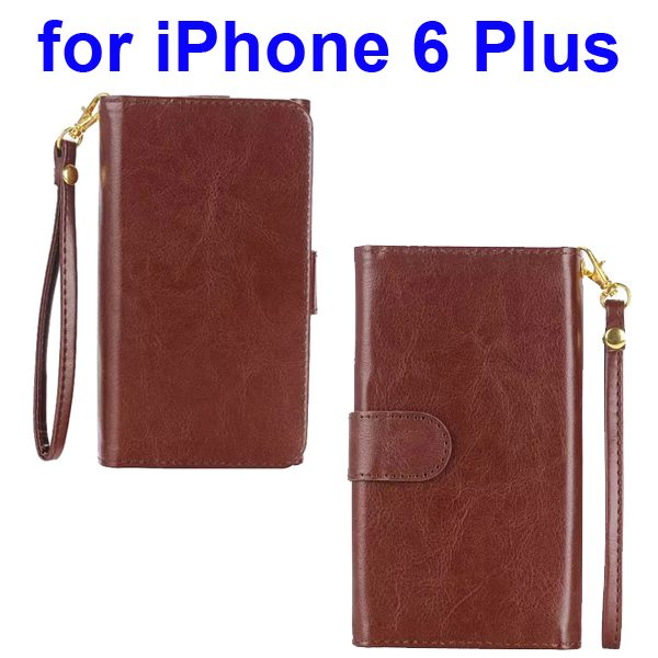 Wallet Pattern Crystal Texture Flip Leather Case for iPhone 6 Plus with Card Slots and Lanyard (Brown)