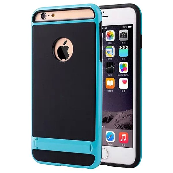2 in 1 PC Frame and Soft TPU Hybrid Slim Armor Cover for iPhone 6 Plus with Stand (Blue)