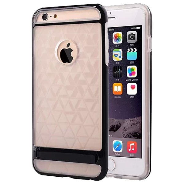2 in 1 PC Frame and Soft TPU Hybrid Slim Armor Cover for iPhone 6 Plus with Stand (Black)