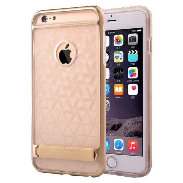 2 in 1 PC Frame and Soft TPU Hybrid Slim Armor Cover for iPhone 6 Plus with Stand (Gold)