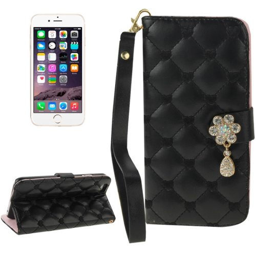 Heart Pattern Diamante Decorated Flip Leather Wallet Case for iPhone 6 with Card Slots and Lanyard (Black)