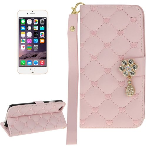 Heart Pattern Diamante Decorated Flip Leather Wallet Case for iPhone 6 with Card Slots and Lanyard (Pink)
