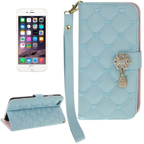 Heart Pattern Diamante Decorated Flip Leather Wallet Case for iPhone 6 with Card Slots and Lanyard (Light Blue)