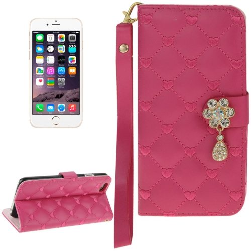Heart Pattern Diamante Decorated Flip Leather Wallet Case for iPhone 6 with Card Slots and Lanyard (Rose)
