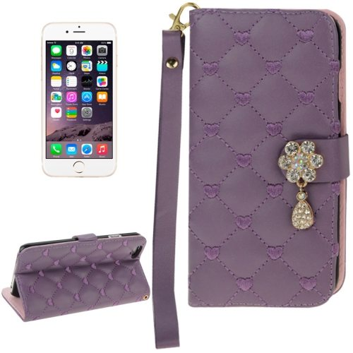 Heart Pattern Diamante Decorated Flip Leather Wallet Case for iPhone 6 with Card Slots and Lanyard (Purple)
