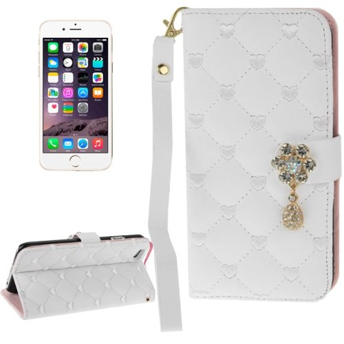 Heart Pattern Diamante Decorated Flip Leather Wallet Case for iPhone 6 with Card Slots and Lanyard (White)