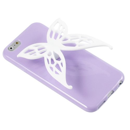 3D Butterfly Style Protective TPU Case with Earphone Winder Function for iPhone 6 Plus (Purple)