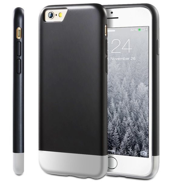 Oil Coated Pattern Detachable Protective Hard Case Cover for iPhone 6 Plus (Black)