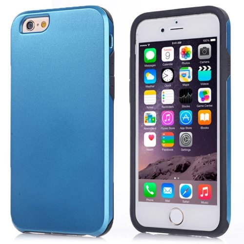 2 in1 Ultrathin Soft TPU and Hard Protective Hybrid Cover for iPhone 6 Plus (Blue)