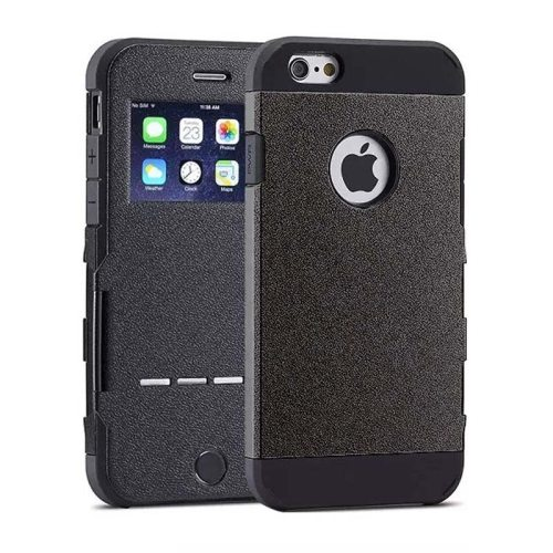 Litchi Texture Flip Smart Hybrid Case for iPhone 6 Plus with Caller ID Display Window and Wake-up / Sleep Function (Black)