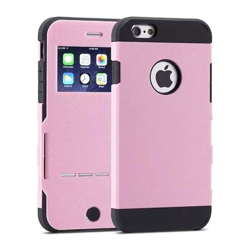 Litchi Texture Flip Smart Hybrid Case for iPhone 6 Plus with Caller ID Display Window and Wake-up / Sleep Function (Pink)