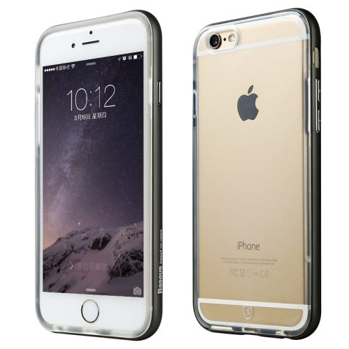 Baseus Fusion Series Metal Frame Soft TPU Protective Cover for iPhone 6 Plus (Black)