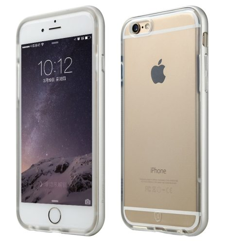 Baseus Fusion Series Metal Frame Soft TPU Protective Cover for iPhone 6 Plus (Silver)