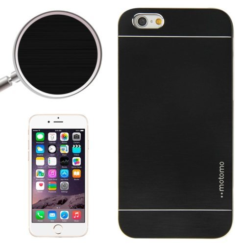 Brushed Texture Metal and Hard Hybrid Case Cover for iPhone 6 Plus (Black)