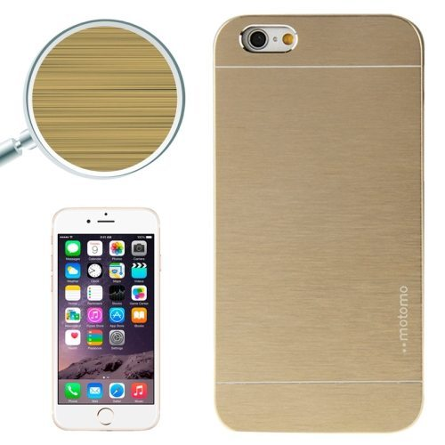 Brushed Texture Metal and Hard Hybrid Case Cover for iPhone 6 Plus (Gold)