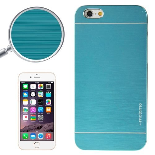 Brushed Texture Metal and Hard Hybrid Case Cover for iPhone 6 Plus (Blue)