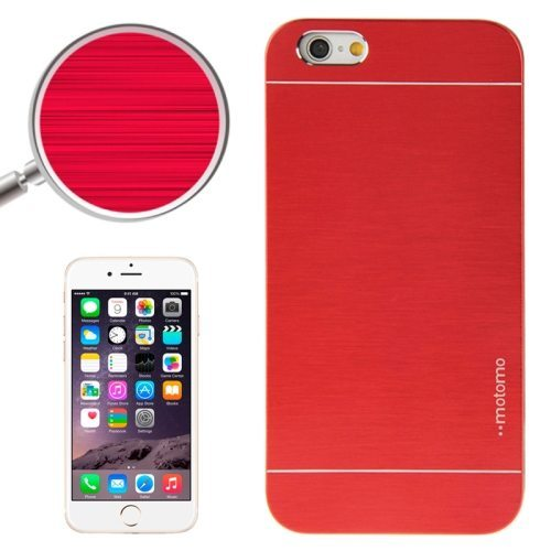 Brushed Texture Metal and Hard Hybrid Case Cover for iPhone 6 Plus (Red)