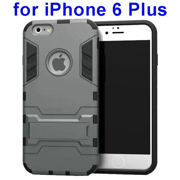 2 in 1 Soft TPU and Hard Protective Case Cover for iPhone 6 Plus (Grey)