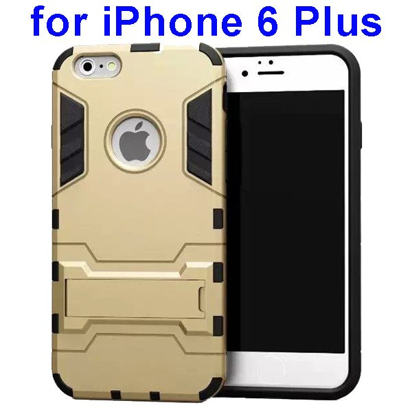 2 in 1 Soft TPU and Hard Protective Case Cover for iPhone 6 Plus (Gold)