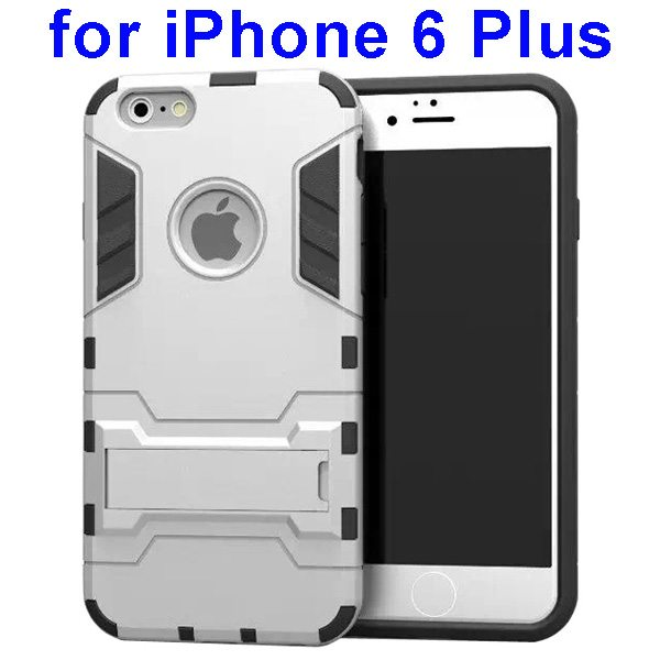 2 in 1 Soft TPU and Hard Protective Case Cover for iPhone 6 Plus (White)