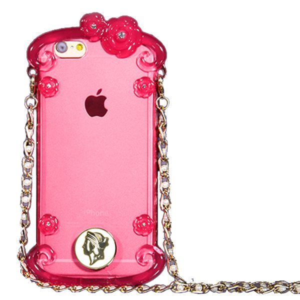 Perfume Bottle Pattern Protective Case for iPhone 6 Plus with Chain(Red)