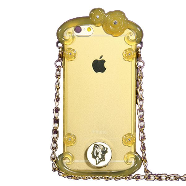 Perfume Bottle Pattern Protective Case for iPhone 6 Plus with Chain(Yellow)
