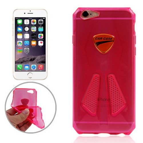 Racing Car Style Transparent Soft TPU Cover for iPhone 6 Plus (Magenta)