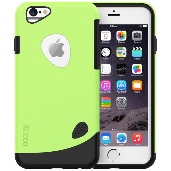 Slicoo Brand 2 in 1 Soft TPU and PC Shockproof Hybrid Cover for iPhone 6 Plus (Green)