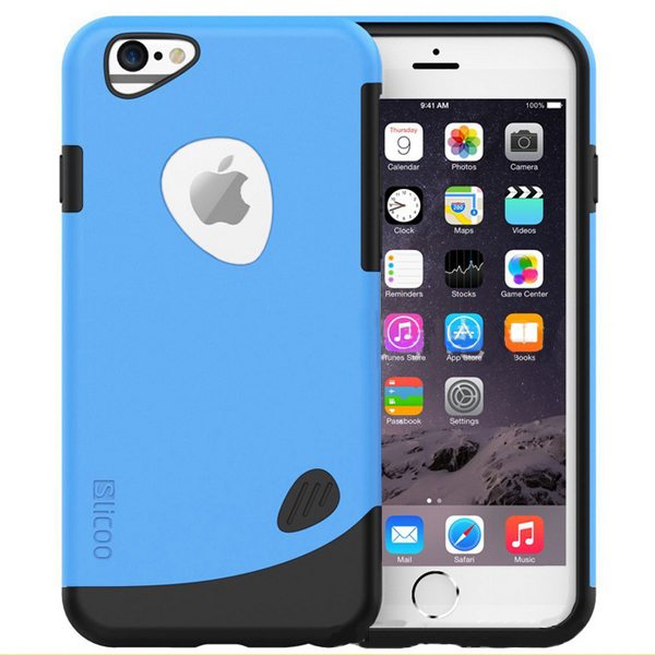 Slicoo Brand 2 in 1 Soft TPU and PC Shockproof Hybrid Cover for iPhone 6 Plus (Blue)