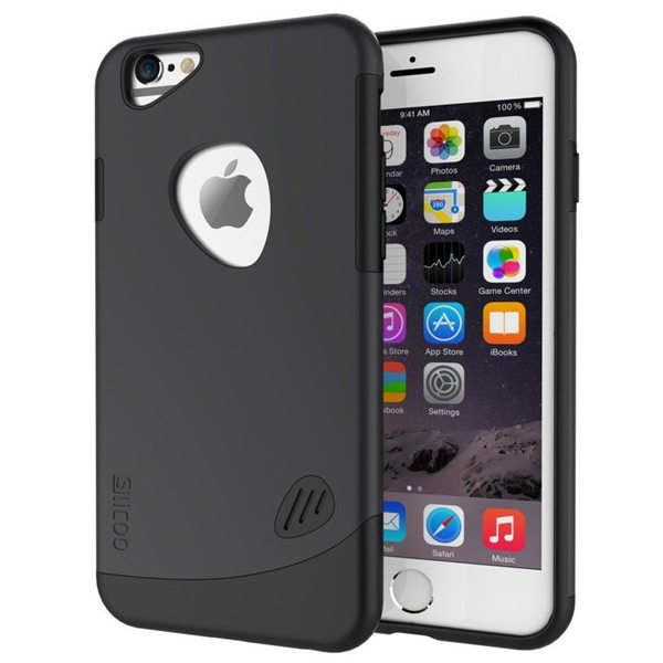 Slicoo Brand 2 in 1 Soft TPU and PC Shockproof Hybrid Cover for iPhone 6 Plus (Black)
