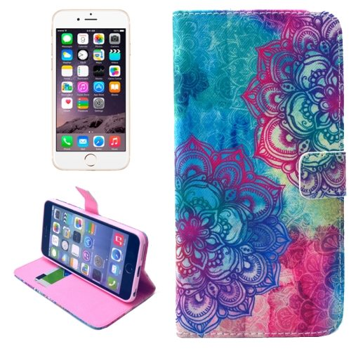 Folio Flip Wallet Magnetic Wallet Leather Case for iPhone 6 Plus with Holder (Flower Pattern)