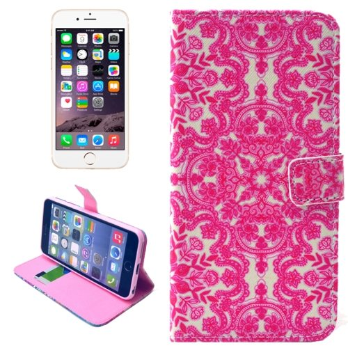 Folio Flip Wallet Magnetic Wallet Leather Case for iPhone 6 Plus with Holder (Snowflake Pattern)