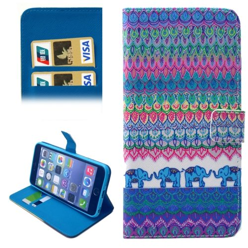 Folio Flip Wallet Magnetic Wallet Leather Case for iPhone 6 Plus with Holder (Elephant Tribe Pattern)