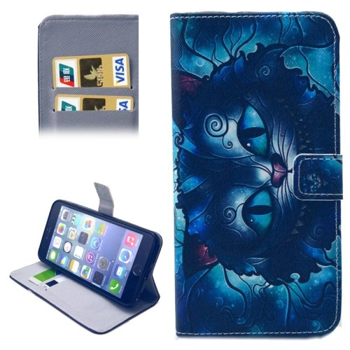 Folio Flip Wallet Magnetic Wallet Leather Case for iPhone 6 Plus with Holder (Blue Cat Pattern)