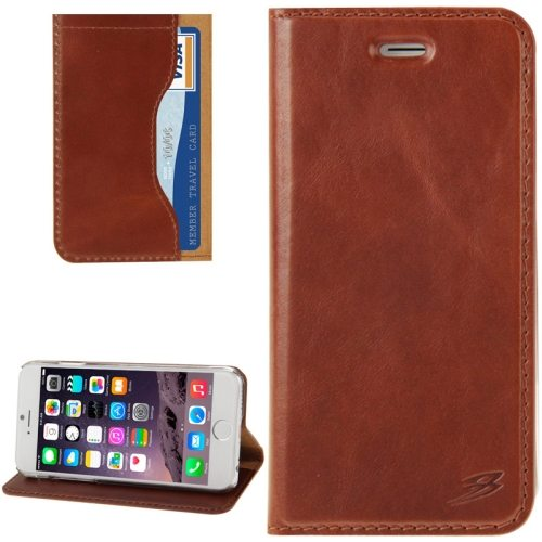 FADDIST Waxing Genuine Leather Flip Case for iPhone 6 Plus with Card Slots & Holder (Coffee)