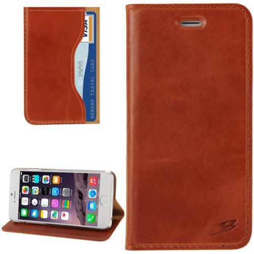 FADDIST Waxing Genuine Leather Flip Case for iPhone 6 Plus with Card Slots & Holder (Brown)