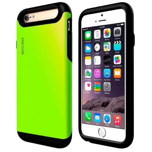 2 in 1 Full Protective PC + TPU Hybrid Case for iPhone 6 Plus(Green)