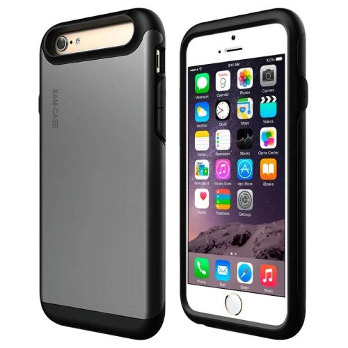 2 in 1 Full Protective PC + TPU Hybrid Case for iPhone 6 Plus(Grey)