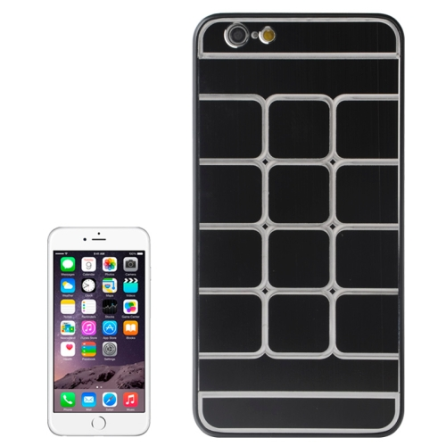 Brushed Texture Grids Dents Shockproof Hard Case Cover for iPhone 6 Plus (Black)