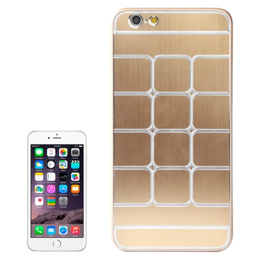 Brushed Texture Grids Dents Shockproof Hard Case Cover for iPhone 6 Plus (Gold)