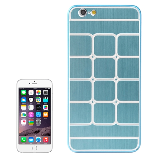 Brushed Texture Grids Dents Shockproof Hard Case Cover for iPhone 6 Plus (Blue)
