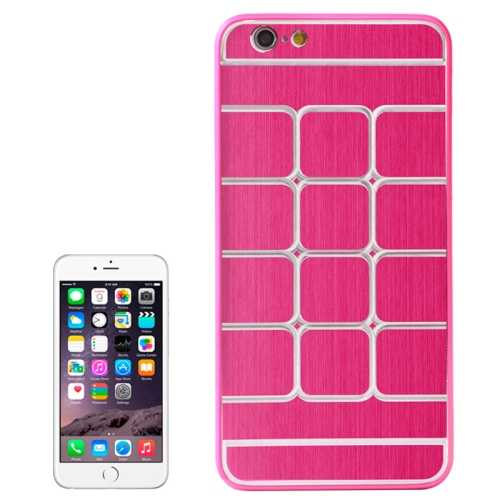 Brushed Texture Grids Dents Shockproof Hard Case Cover for iPhone 6 Plus (Magenta)